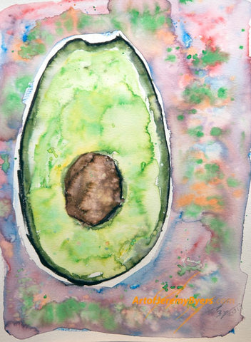 Avocado original watercolor