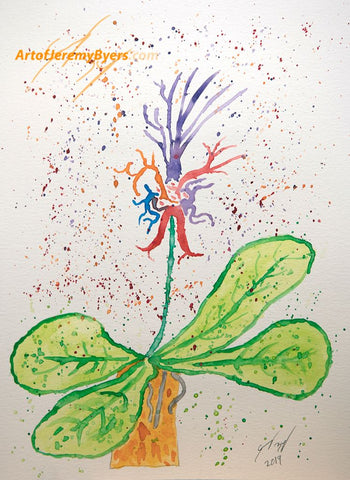 Alien Flower Original Watercolor
