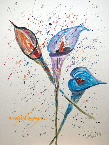 Three lillies original watercolor