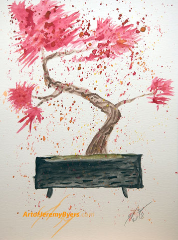 Red Bonsai original watercolor