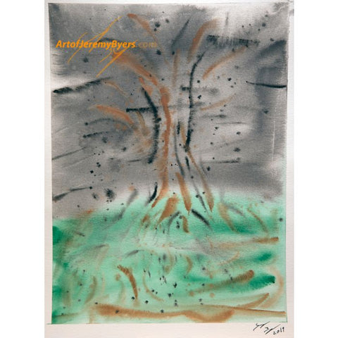 Old Forrest abstract original watercolor