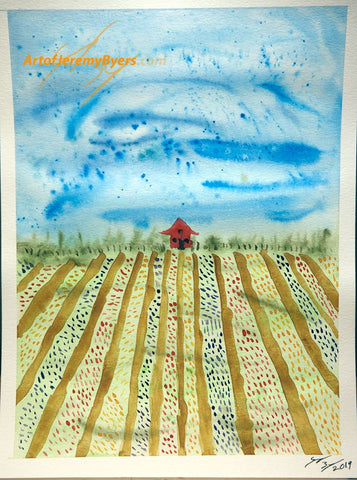 field of flowers original watercolor