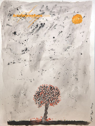 Lone tree original watercolor