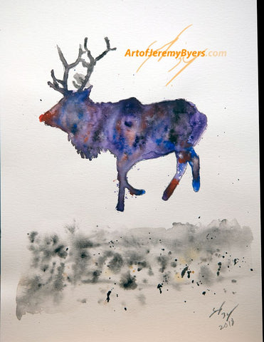 Reindeer original watercolor