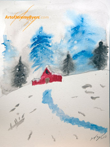 Snowy Barn original watercolor