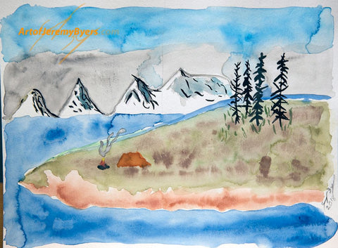 Day at the lake original watercolor