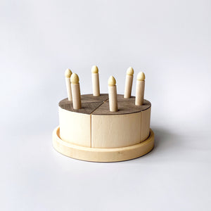 Wooden Cake with Candles