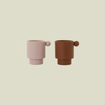 Load image into Gallery viewer, OYOY Mini 2-pack Tiny Inka Cups - Caramel/Rose