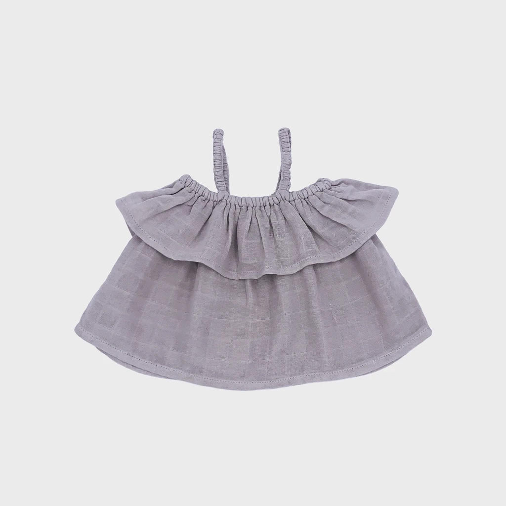 Petit Co. Sasha Frilly Top - Warm Grey