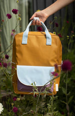 Load image into Gallery viewer, Sticky Lemon Large Backpack Wanderer - Caramel Fudge/Sky Blue/Pirate Purple