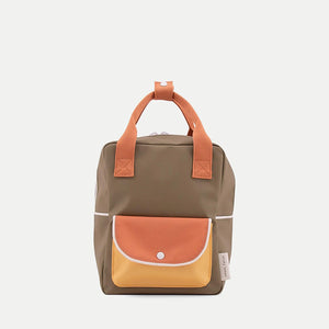Sticky Lemon Small Backpack Wanderer - Seventies Green/Faded Orange/Retro Yellow