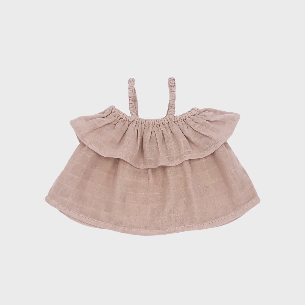 Petit Co. Sasha Frilly Top - Light Beige/Pink