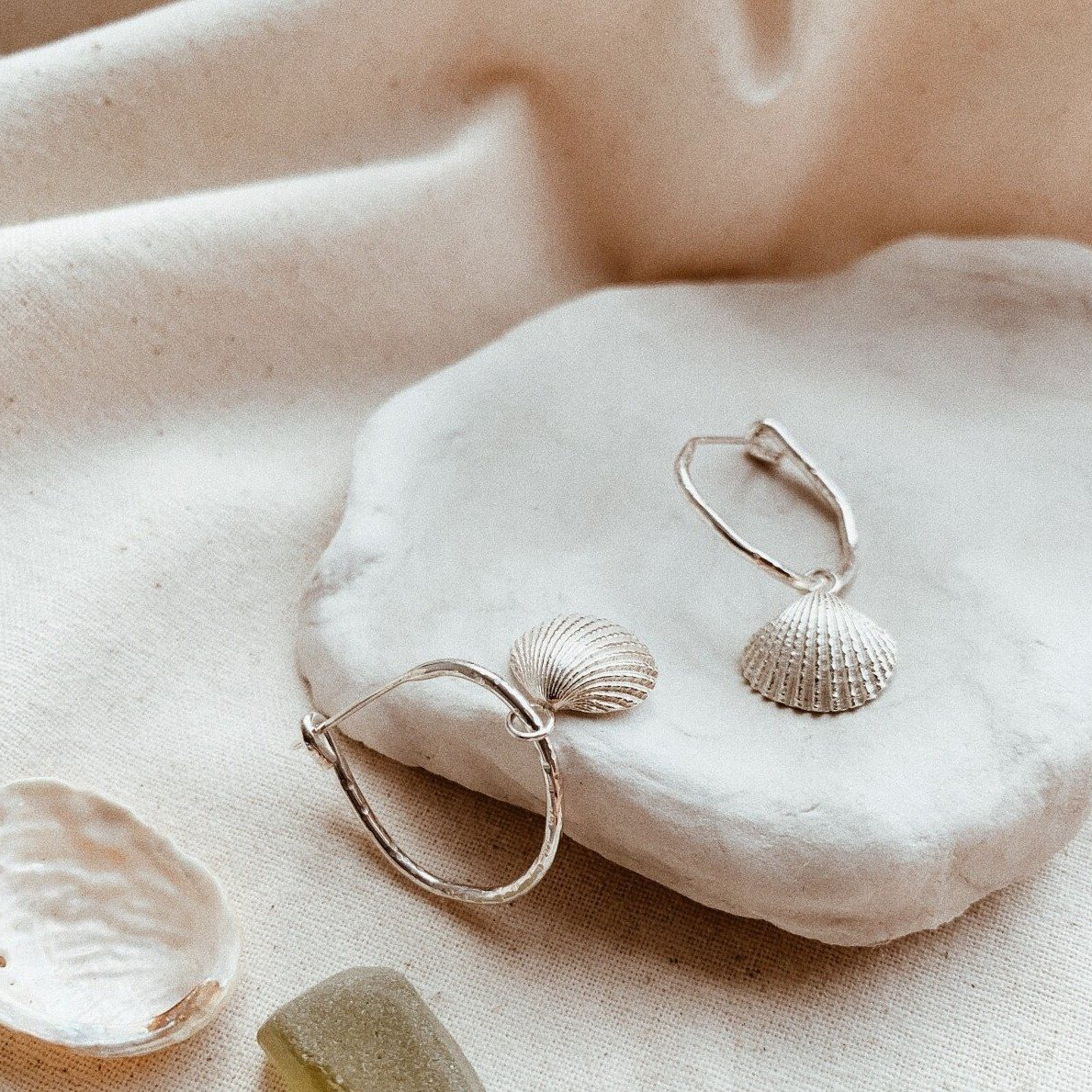 New Zealand made silver shell earrings by Found Treasure.