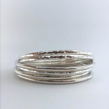 hammered silver bangle