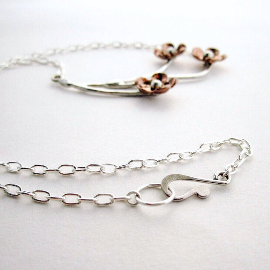 Forget Me Not Trio Copper and Sterling Necklace - Local Artisan