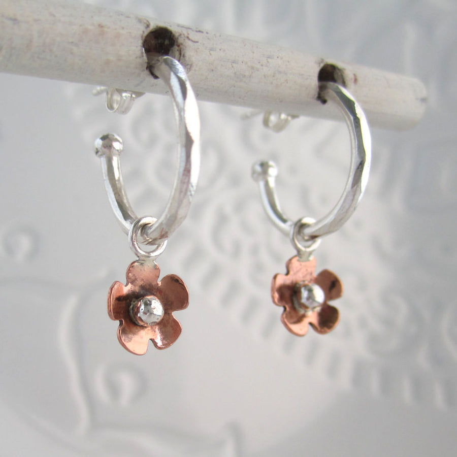 Forget Me Not 3 Way Sterling Silver Hoops
