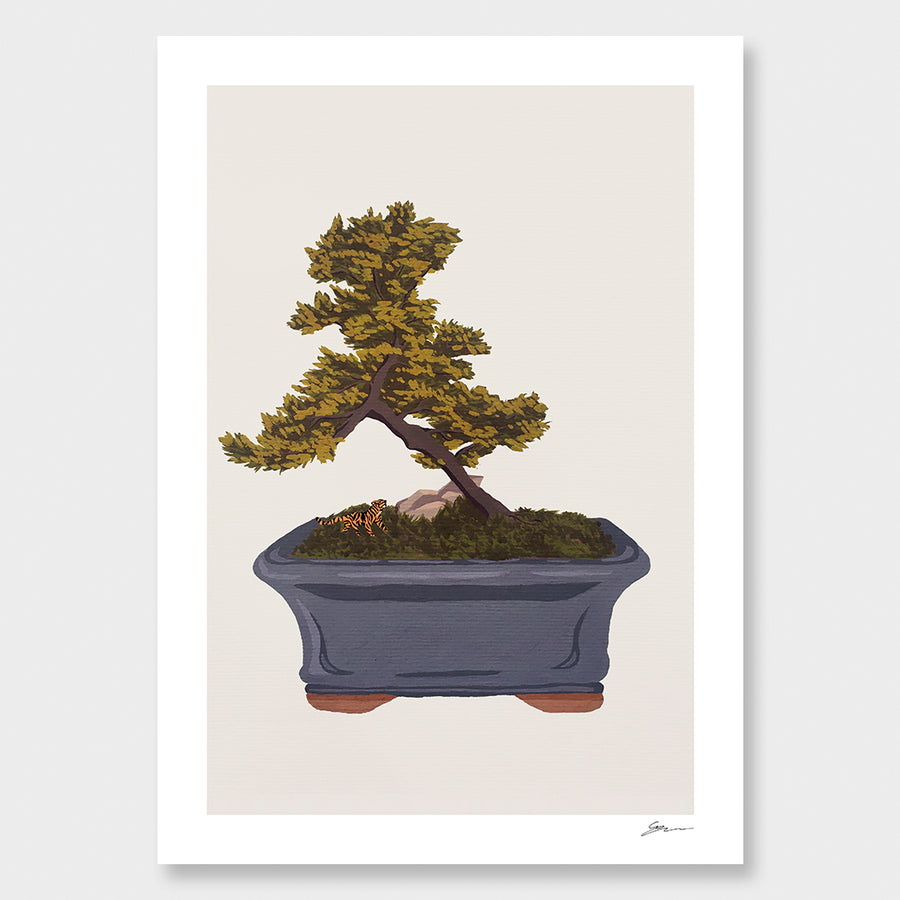 Bonsai Tiger IV Framed Art Print - sold by Local Artisan. Original Artist is Grace Popplewell.