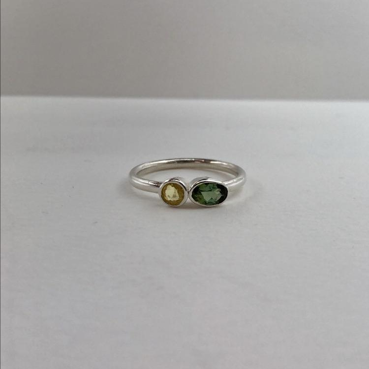 green and yellow sapphires in silver