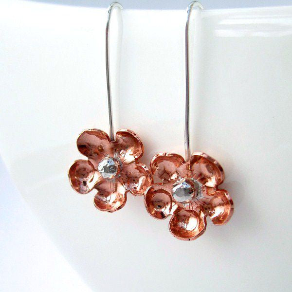 Forget Me Not Copper and Sterling Silver Earrings - Local Artisan