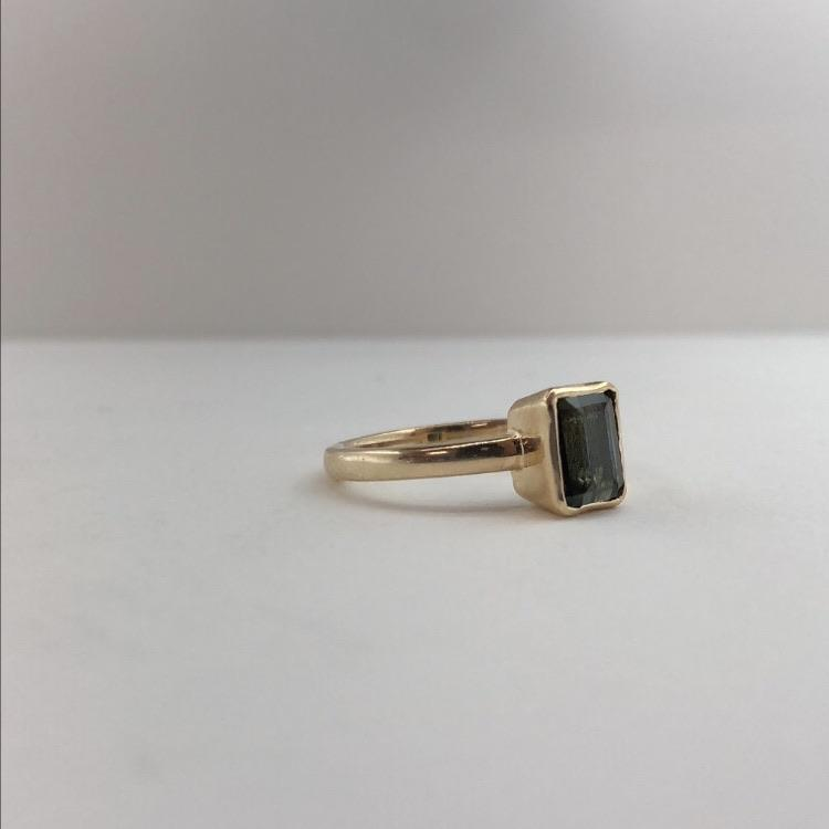 forest green tourmaline in gold