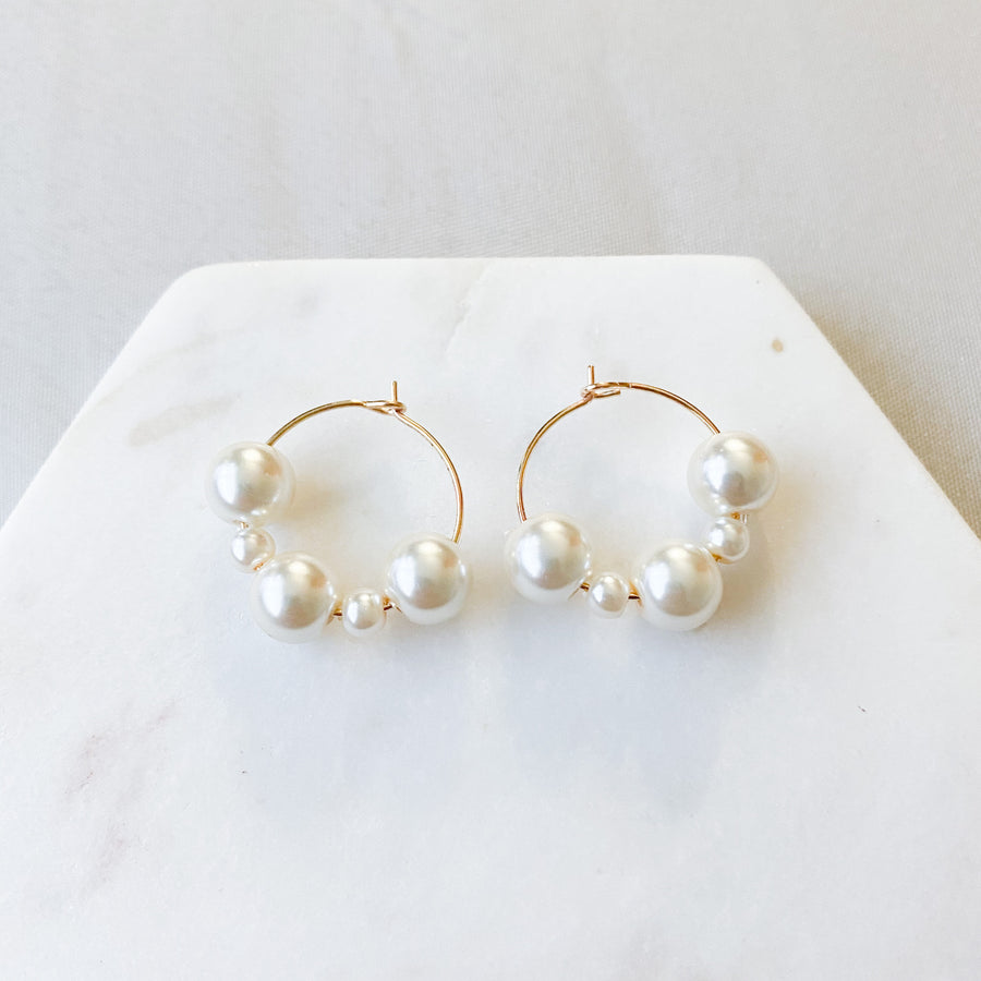 Mini Pearl Hoops - Local Artisan