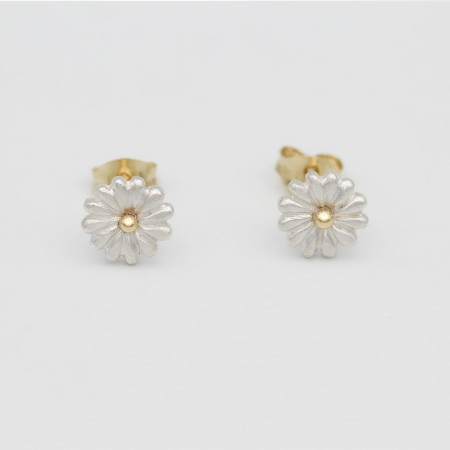 Small Daisy Earrings/ 9ct Yellow Gold and Silver