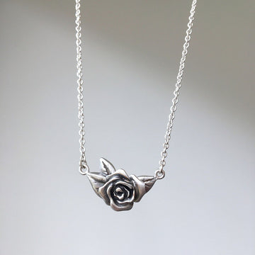 Rose Necklace/ Blackened Silver