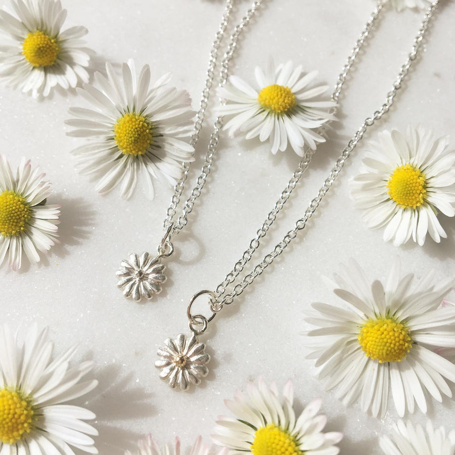 Small Daisy Necklace/ 9ct Yellow Gold and Silver
