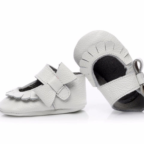 Mary Jane Leather Baby White Bow
