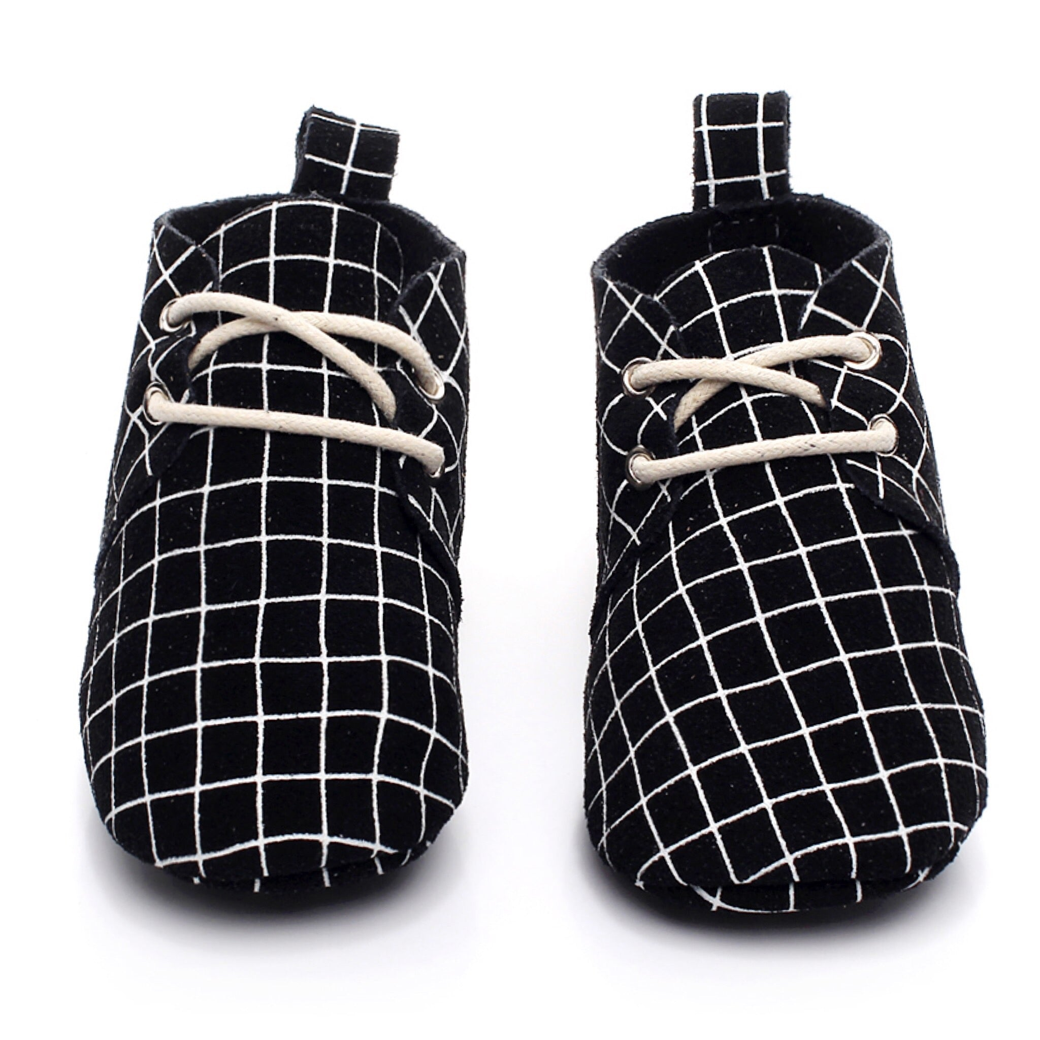 Baby Leather Oxford Lace Ups White Grid