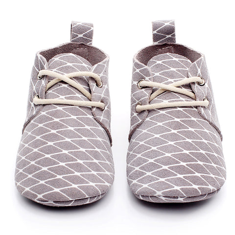 Baby Leather Oxford Lace Ups Grey White