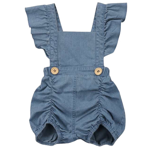 Denim Pucker Romper