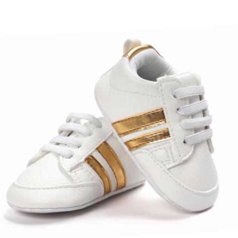 Pumps - White & Gold Stripes