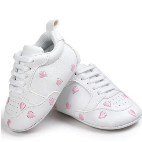 Pumps - White & Pink Hearts