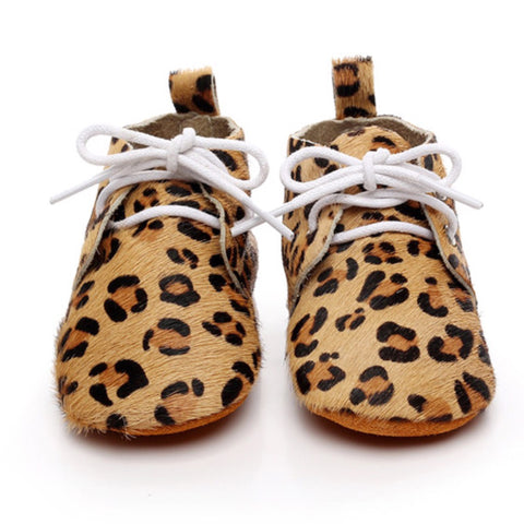 Baby Leather Oxford Lace Ups Leopard Cream