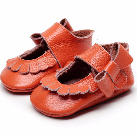 Mary Jane Leather Burnt Orange Bow