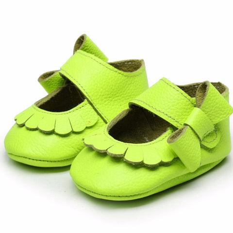 Mary Jane Leather Fluro Green Bow