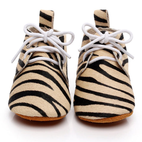Baby Leather Oxford Lace Ups Camel Zebra