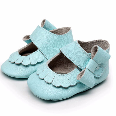 Mary Jane Leather Baby Blue Bow