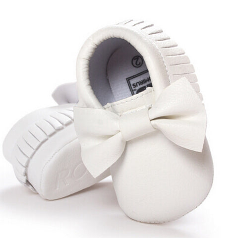 Mocs - Bow Baby White