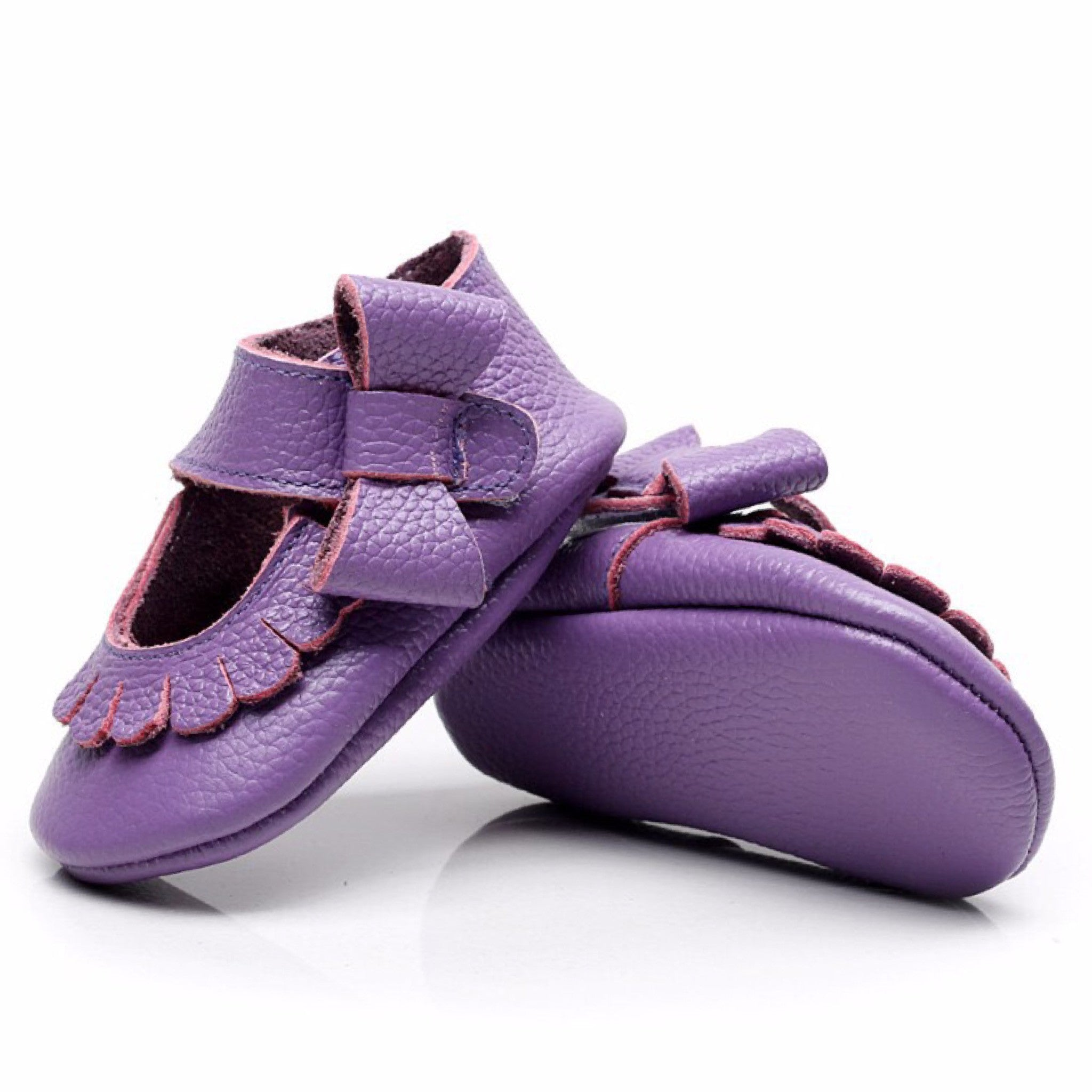 Mary Jane Leather Purple Bow