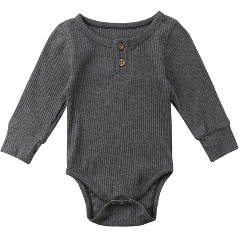 Ribbed Henley Romper Grey