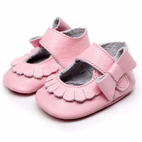 Mary Jane Leather Baby Pink Bow