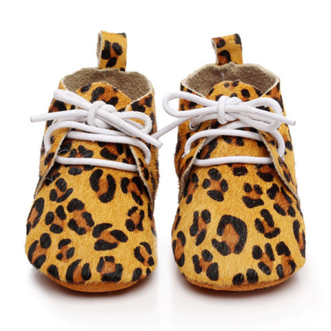 Baby Leather Oxford Lace Ups Leopard