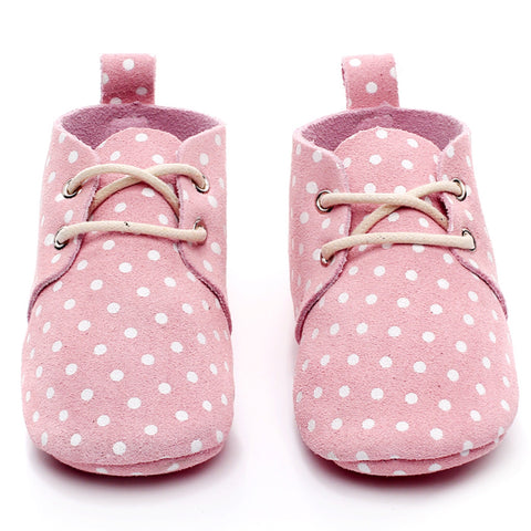Baby Leather Oxford Lace Ups Pink Spot