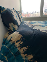 Load image into Gallery viewer, Black Indigo AKA Blue Gold Double Dye Process Duvet Cover and Pillow Case Set