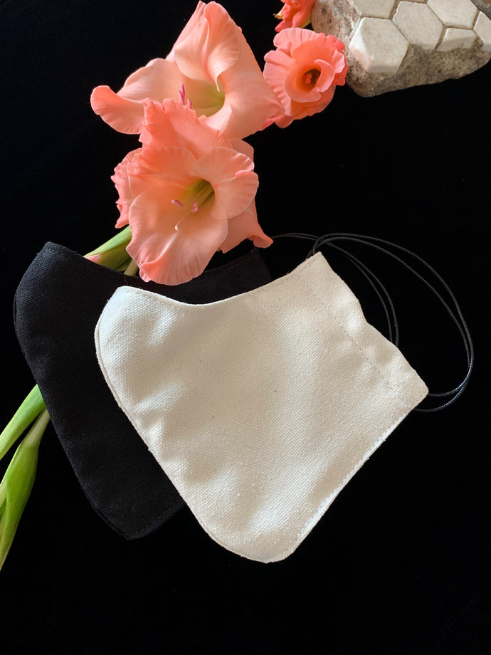 Silk Noil Masks: Black and White, 5 Sizes X-Small-X Large