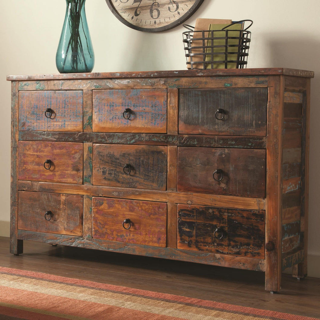 9 Drawer Rustic Cabinet