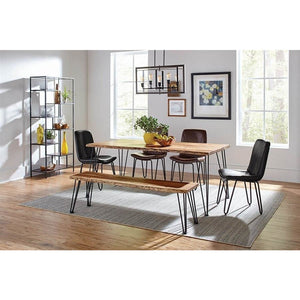 Sherman Rectangular Dining Table Natural Acacia And Matte Black