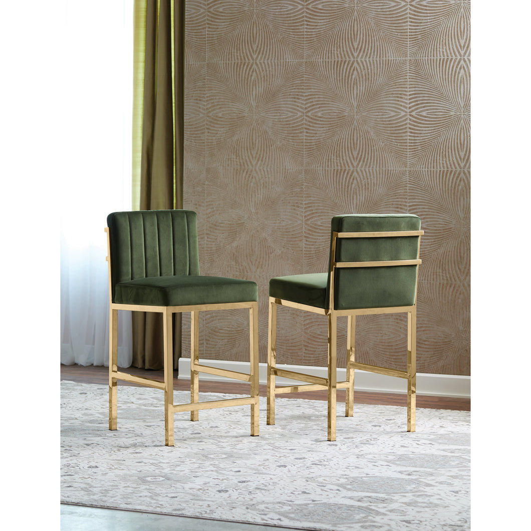 Upholstered Bar Stools Rose Gold And Green (Set Of 2)